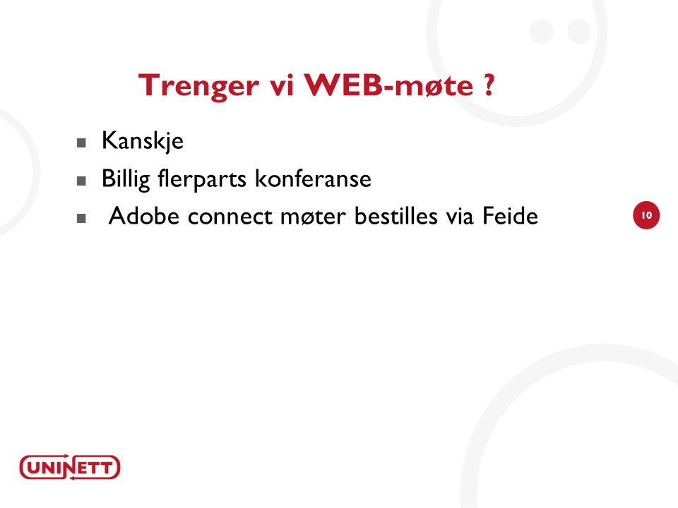 10 Trenger vi WEB-møte ? Kanskje Billig flerparts konferanse Adobe connect møter bestilles via Feide