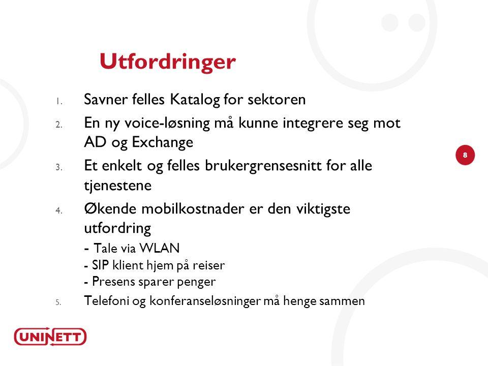 8 Utfordringer 1. Savner felles Katalog for sektoren 2. En ny voice-løsning må kunne integrere seg mot AD og Exchange 3. Et enkelt og felles brukergre