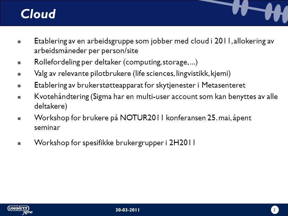2 30-03-2011 Etablering av en arbeidsgruppe som jobber med cloud i 2011, allokering av arbeidsmåneder per person/site Rollefordeling per deltaker (computing, storage,...) Valg av relevante pilotbrukere (life sciences, lingvistikk, kjemi) Etablering av brukerstøtteapparat for skytjenester i Metasenteret Kvotehåndtering (Sigma har en multi-user account som kan benyttes av alle deltakere) Workshop for brukere på NOTUR2011 konferansen 25.