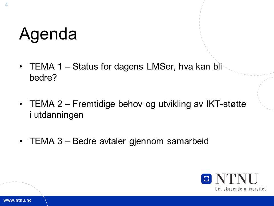 4 Agenda TEMA 1 – Status for dagens LMSer, hva kan bli bedre.