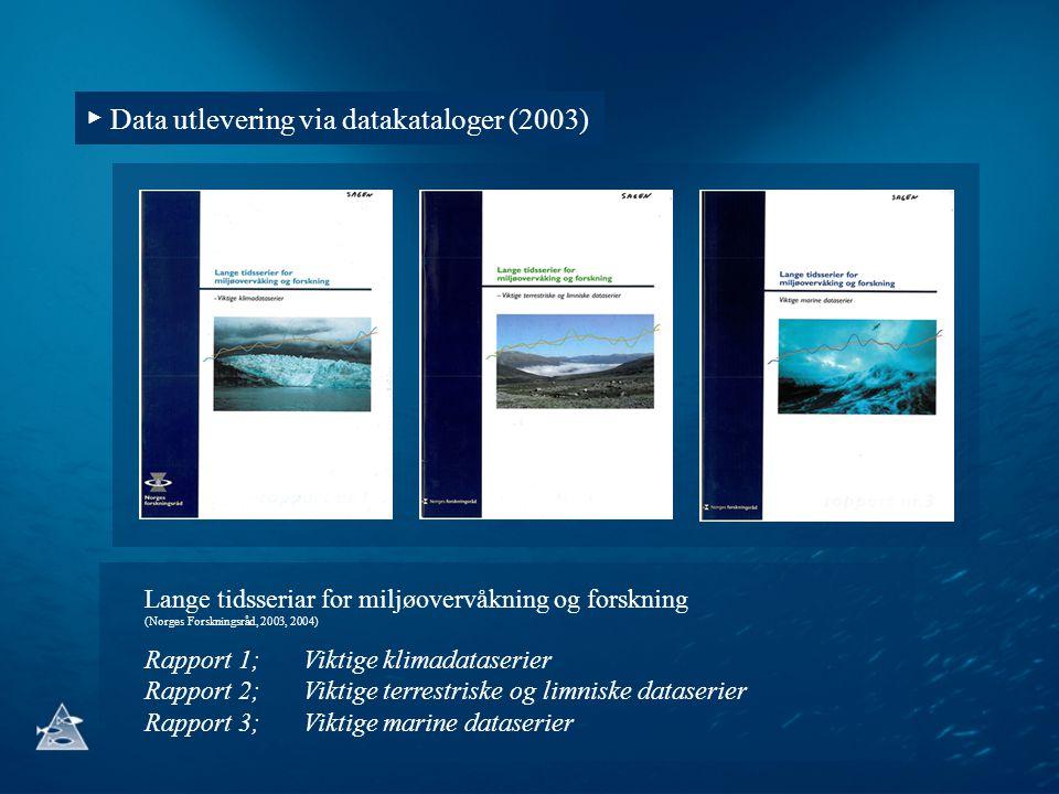 ▶ Data utlevering via datakataloger (2003) Lange tidsseriar for miljøovervåkning og forskning (Norges Forskningsråd, 2003, 2004) Rapport 1;Viktige kli