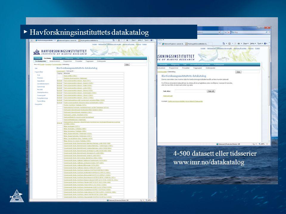 4-500 datasett eller tidsserier www.imr.no/datakatalog ▶ Havforskningsinstituttets datakatalog