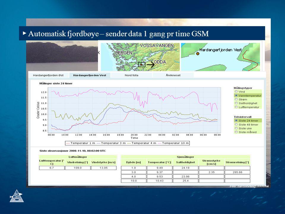 Foto: Havforskningsinstituttet ▶ Automatisk fjordbøye – sender data 1 gang pr time GSM