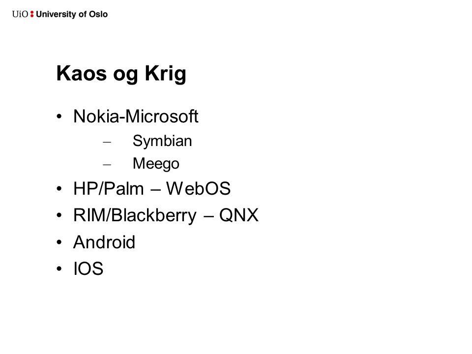 Kaos og Krig Nokia-Microsoft – Symbian – Meego HP/Palm – WebOS RIM/Blackberry – QNX Android IOS