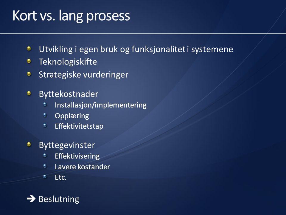 Kort vs. lang prosess Utvikling i egen bruk og funksjonalitet i systemene Teknologiskifte Strategiske vurderinger Byttekostnader Installasjon/implemen