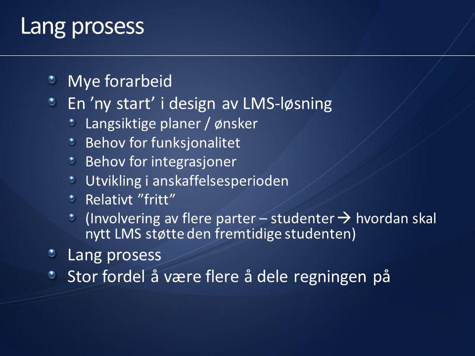 Lang prosess Mye forarbeid En 'ny start' i design av LMS-løsning Langsiktige planer / ønsker Behov for funksjonalitet Behov for integrasjoner Utviklin