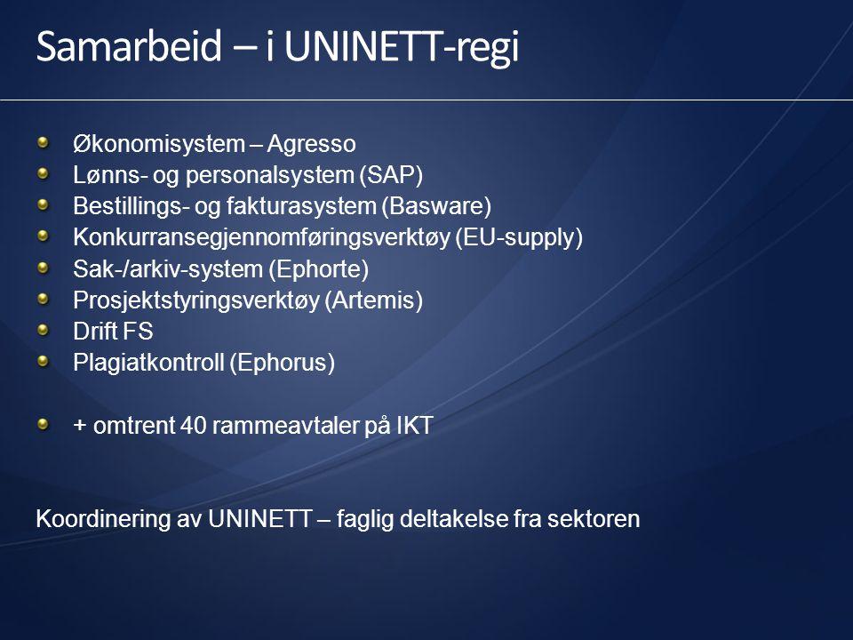Samarbeid – i UNINETT-regi Økonomisystem – Agresso Lønns- og personalsystem (SAP) Bestillings- og fakturasystem (Basware) Konkurransegjennomføringsver