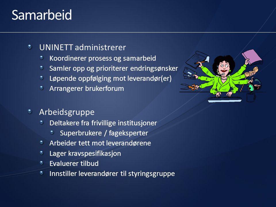 Samarbeid UNINETT administrerer Koordinerer prosess og samarbeid Samler opp og prioriterer endringsønsker Løpende oppfølging mot leverandør(er) Arrang