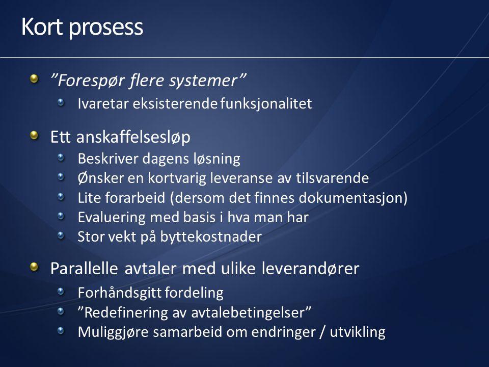 Felles anskaffelse – kort prosess Fase 0:Prefase (informasjon / tilslutning)01.2011 Fase I:Nedsettelse av styrings/arbeidsgruppe02.2011 Fase II:Avklaring av rammer02.2011 Fase III:Leverandørkontakt------- Fase IV:Utarbeidelse av kravspesifikasjon05.2011 Fase V:Gjennomføring av konkurranse - Utlysning05.2011 - Prekvalifisering / invitasjon06.