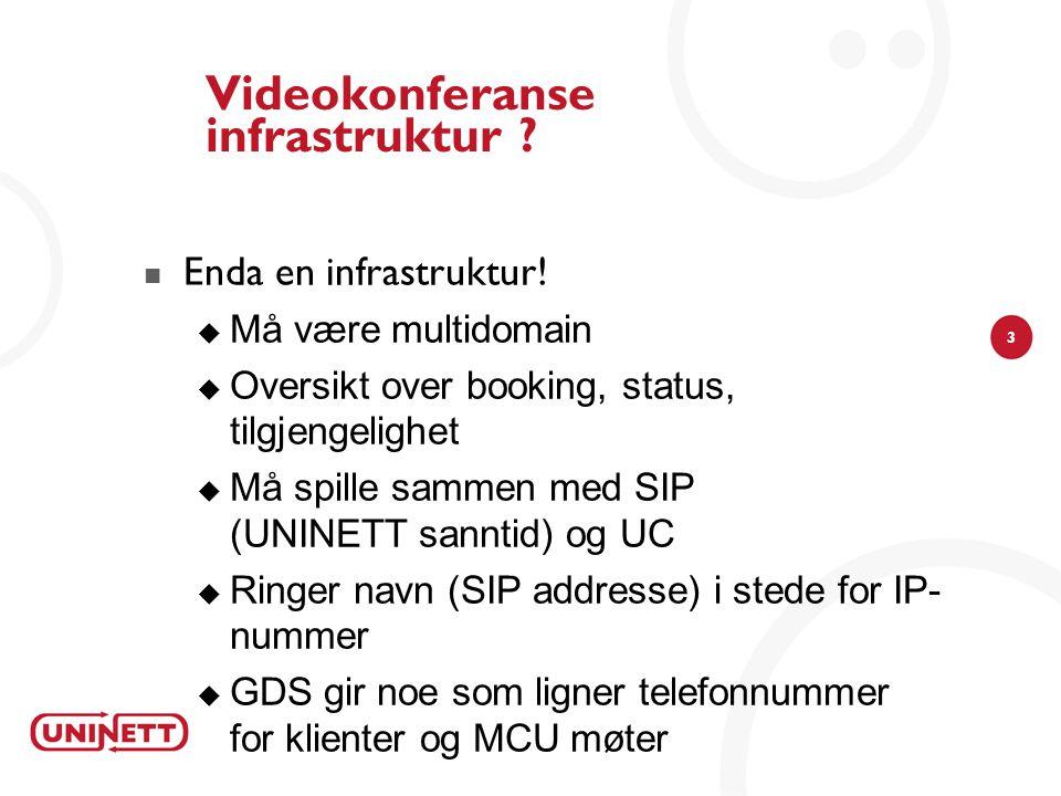 3 Videokonferanse infrastruktur . Enda en infrastruktur.