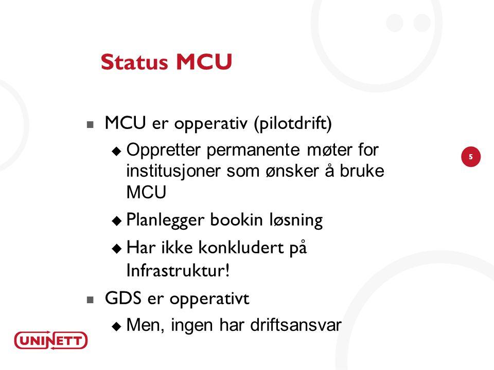5 Status MCU MCU er opperativ (pilotdrift)  Oppretter permanente møter for institusjoner som ønsker å bruke MCU  Planlegger bookin løsning  Har ikke konkludert på Infrastruktur.