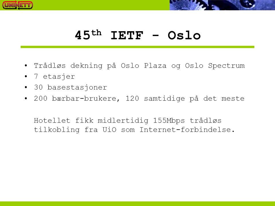45 th IETF - Oslo Trådløs dekning på Oslo Plaza og Oslo Spectrum 7 etasjer 30 basestasjoner 200 bærbar-brukere, 120 samtidige på det meste Hotellet fi