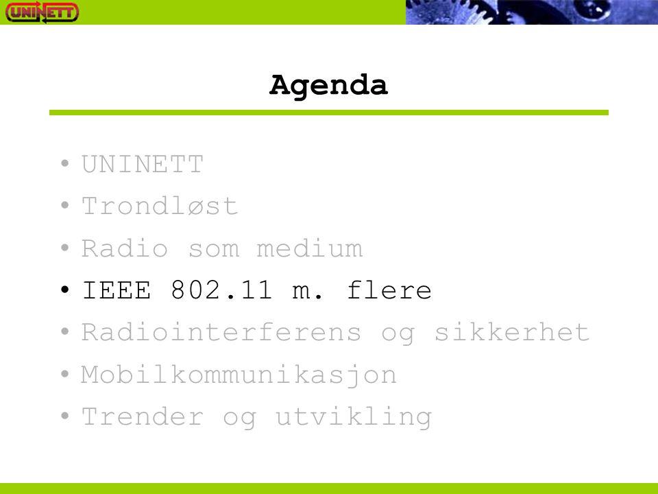 Agenda UNINETT Trondløst Radio som medium IEEE 802.11 m. flere Radiointerferens og sikkerhet Mobilkommunikasjon Trender og utvikling