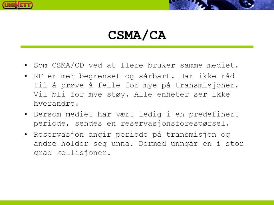 CSMA/CA Som CSMA/CD ved at flere bruker samme mediet. RF er mer begrenset og sårbart. Har ikke råd til å prøve å feile for mye på transmisjoner. Vil b