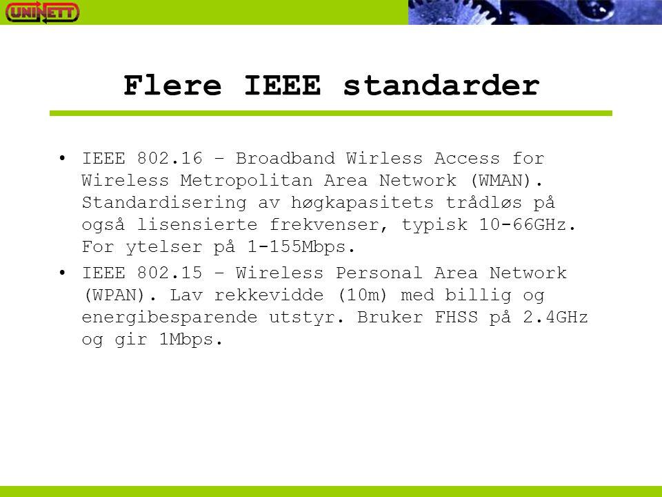 Flere IEEE standarder IEEE 802.16 – Broadband Wirless Access for Wireless Metropolitan Area Network (WMAN). Standardisering av høgkapasitets trådløs p