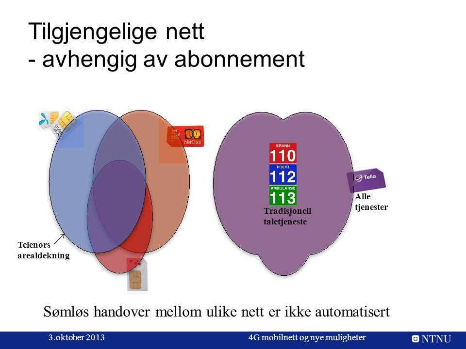 Tilgjengelige nett - avhengig av abonnement 3.oktober 20134G mobilnett og nye muligheter Tradisjonell taletjeneste Alle tjenester Sømløs handover mell