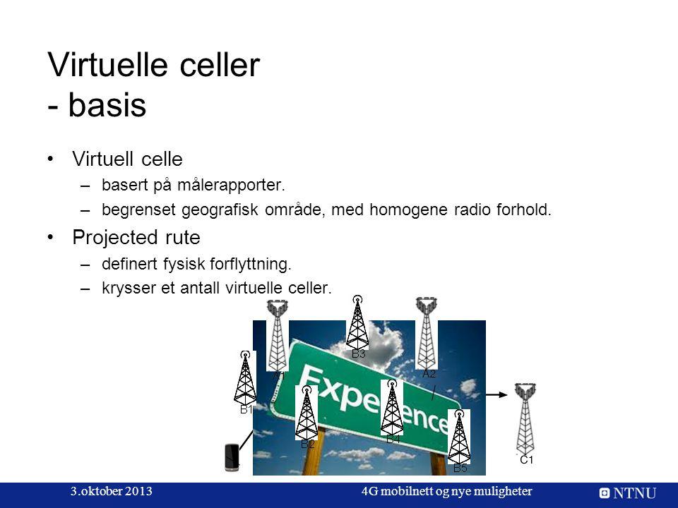 3.oktober 20134G mobilnett og nye muligheter Virtuelle celler - basis Virtuell celle –basert på målerapporter. –begrenset geografisk område, med homog
