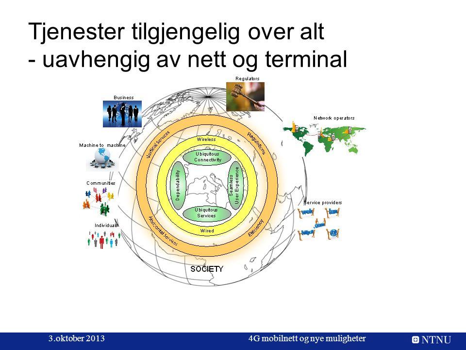 Tjenester tilgjengelig over alt - uavhengig av nett og terminal 3.oktober 20134G mobilnett og nye muligheter