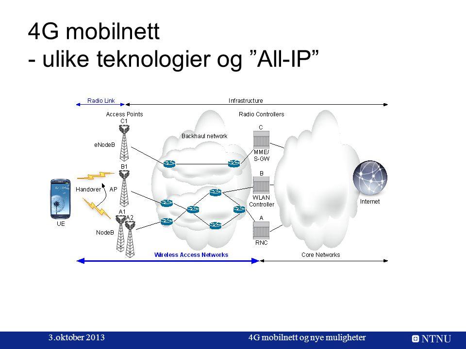 """4G mobilnett - ulike teknologier og """"All-IP"""" 3.oktober 20134G mobilnett og nye muligheter"""