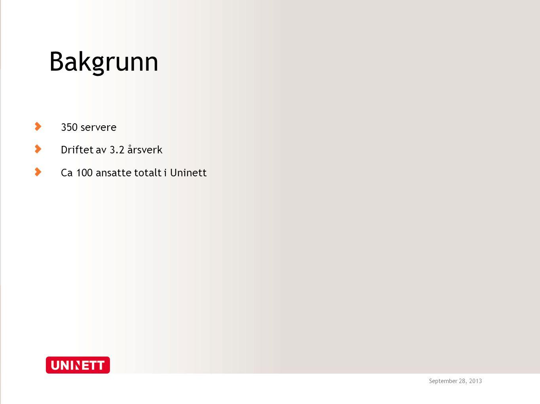 September 28, 2013 Bakgrunn 350 servere Driftet av 3.2 årsverk Ca 100 ansatte totalt i Uninett