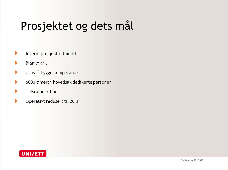 September 28, 2013 Prosjektet og dets mål Internt prosjekt i Uninett Blanke ark...også bygge kompetanse 6000 timer: i hovedsak dedikerte personer Tidsramme 1 år Operativt redusert til 20 %