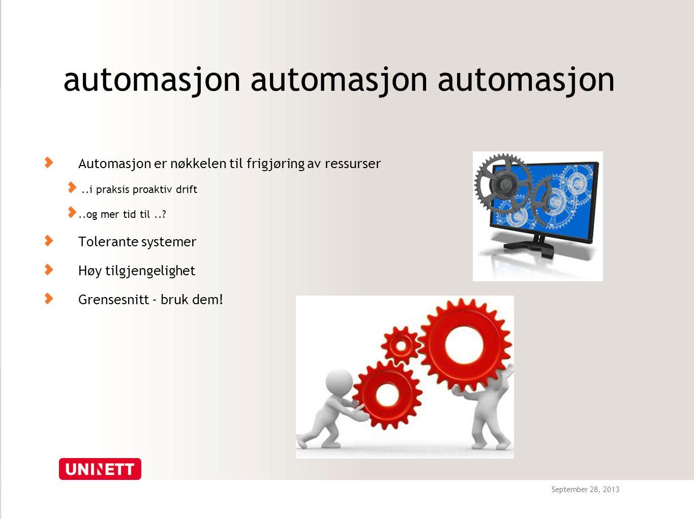 September 28, 2013 automasjon automasjon automasjon Automasjon er nøkkelen til frigjøring av ressurser..i praksis proaktiv drift..og mer tid til...