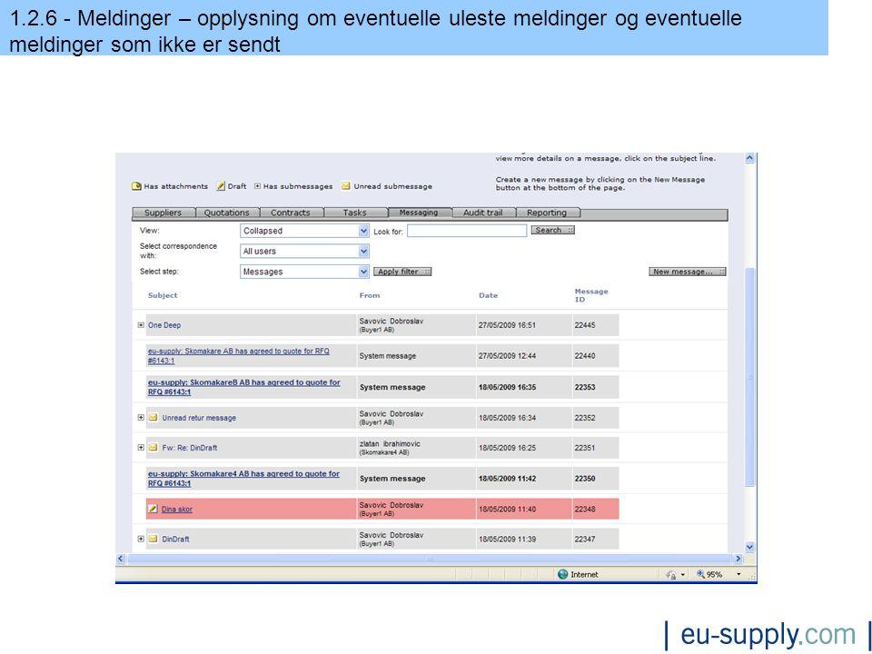 1.2.6 - Meldinger – opplysning om eventuelle uleste meldinger og eventuelle meldinger som ikke er sendt