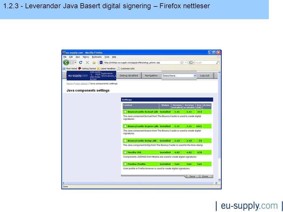 1.2.3 - Leverandør Java Basert digital signering – Firefox nettleser Java komponent innstillinger