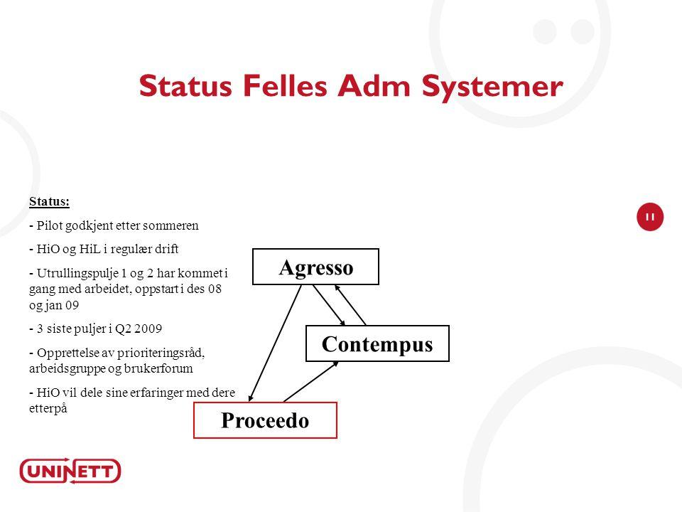 11 Status Felles Adm Systemer Agresso Status: - Pilot godkjent etter sommeren - HiO og HiL i regulær drift - Utrullingspulje 1 og 2 har kommet i gang