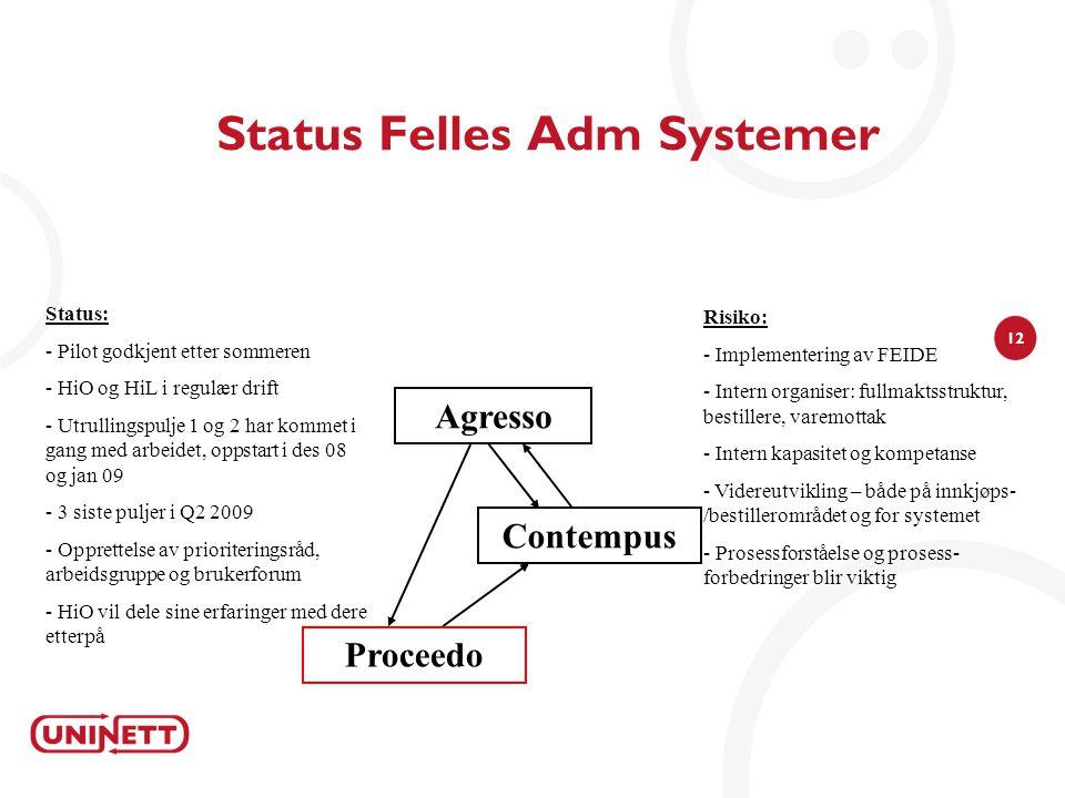 12 Status Felles Adm Systemer Agresso Status: - Pilot godkjent etter sommeren - HiO og HiL i regulær drift - Utrullingspulje 1 og 2 har kommet i gang