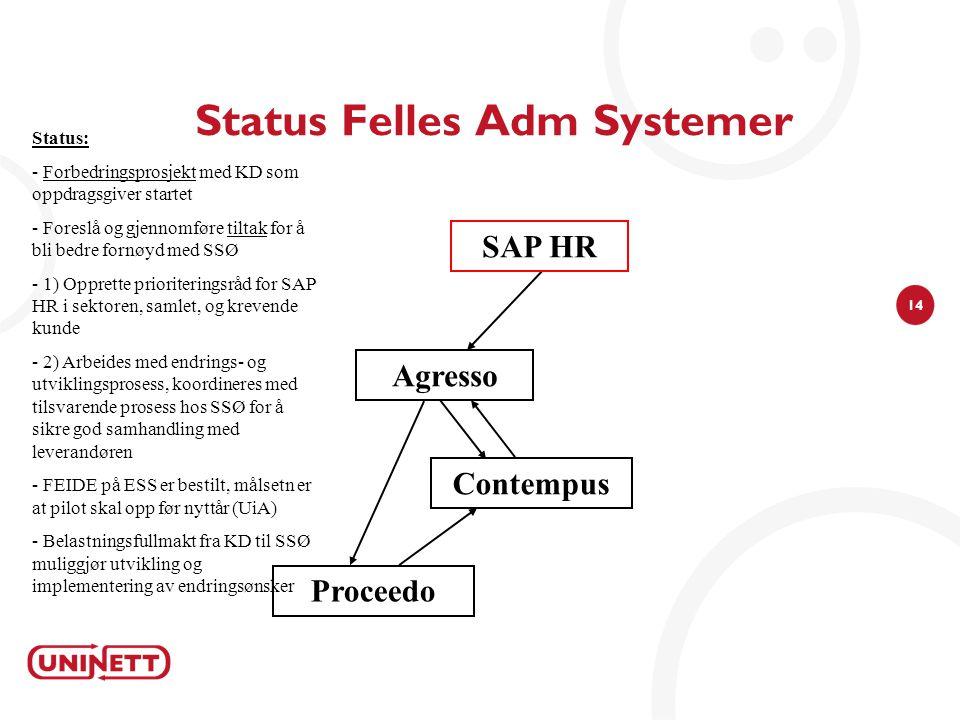 14 Status Felles Adm Systemer Agresso Status: - Forbedringsprosjekt med KD som oppdragsgiver startet - Foreslå og gjennomføre tiltak for å bli bedre f