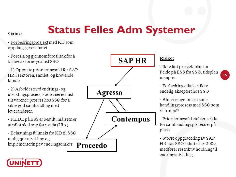15 Status Felles Adm Systemer Agresso Risiko: - Ikke fått prosjektplan for Feide på ESS fra SSØ, tidsplan mangler - Forbedringstiltak er ikke endelig