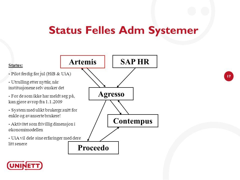 17 Status Felles Adm Systemer Agresso Contempus Proceedo SAP HR Artemis Status: - Pilot ferdig før jul (HiB & UiA) - Utrulling etter nyttår, når insti