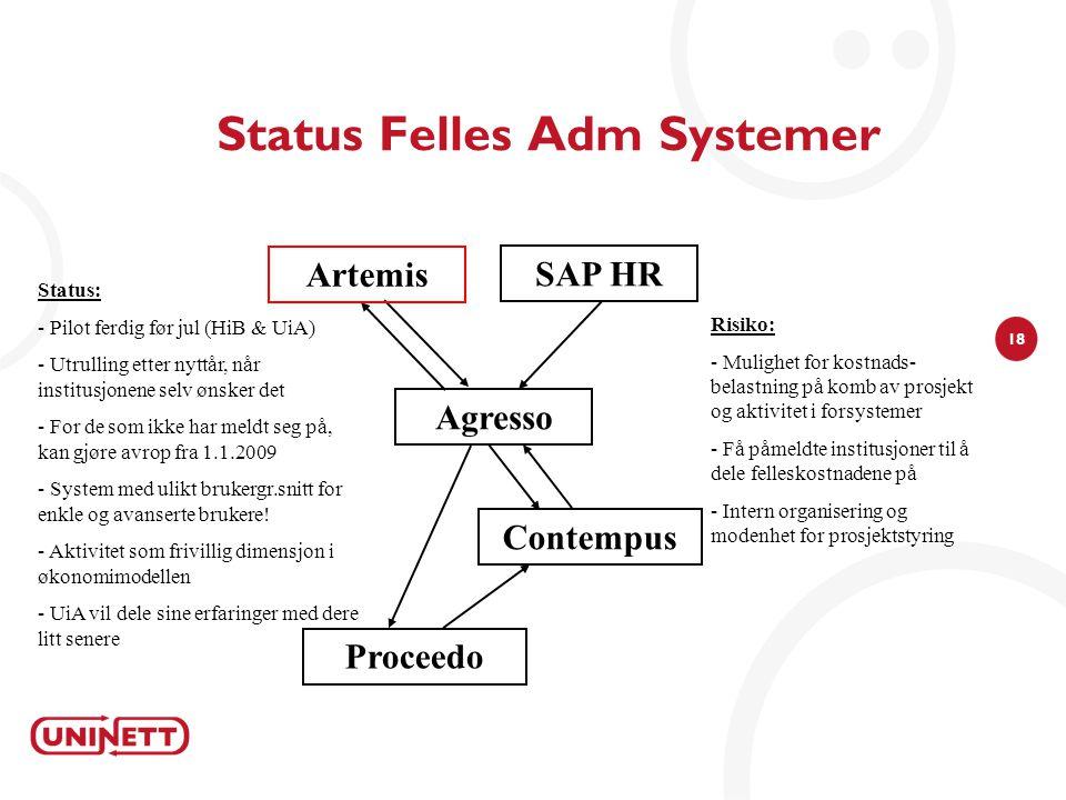 18 Status Felles Adm Systemer Agresso Risiko: - Mulighet for kostnads- belastning på komb av prosjekt og aktivitet i forsystemer - Få påmeldte institu