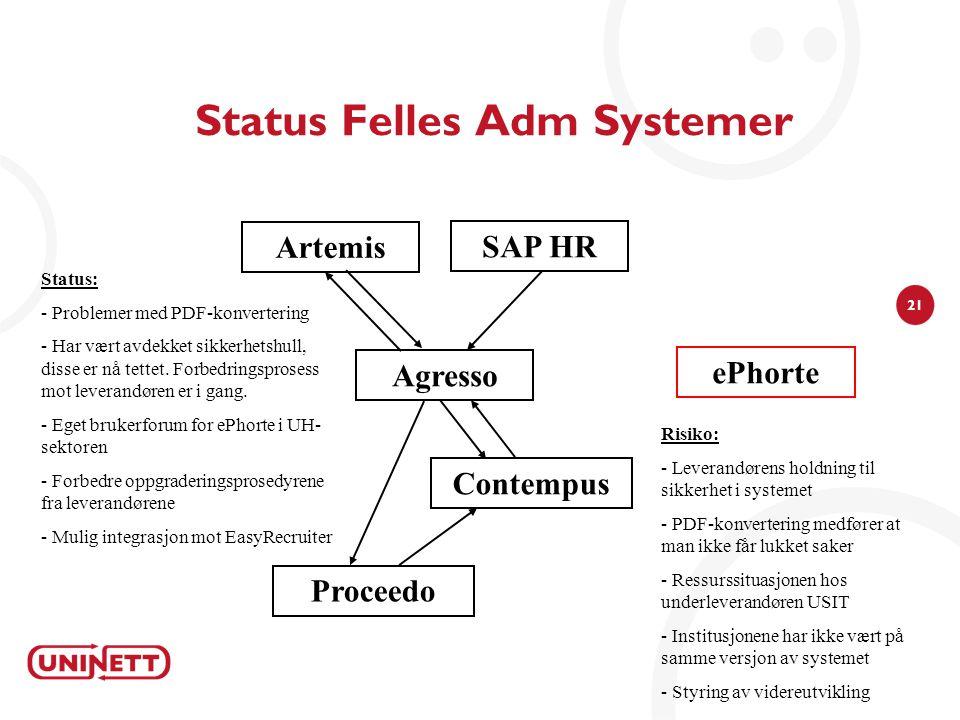 21 Status Felles Adm Systemer Agresso Risiko: - Leverandørens holdning til sikkerhet i systemet - PDF-konvertering medfører at man ikke får lukket sak