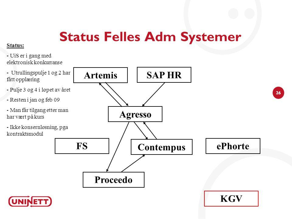 26 Status Felles Adm Systemer Agresso Status: - UiS er i gang med elektronisk konkurranse - Utrullingspulje 1 og 2 har fått opplæring - Pulje 3 og 4 i