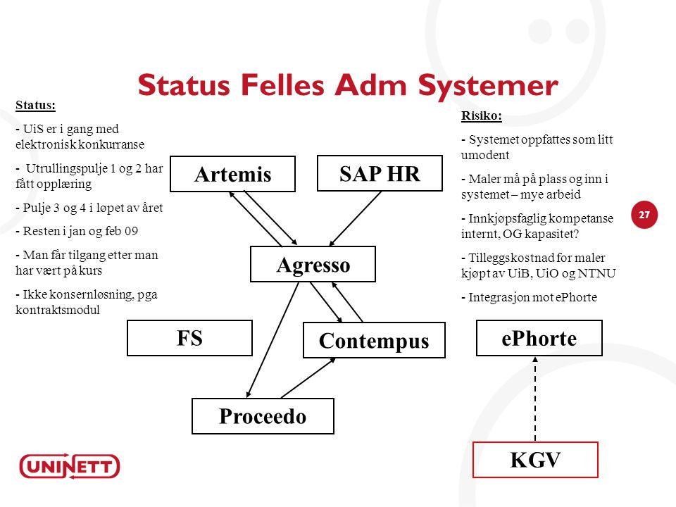 27 Status Felles Adm Systemer Agresso Risiko: - Systemet oppfattes som litt umodent - Maler må på plass og inn i systemet – mye arbeid - Innkjøpsfagli