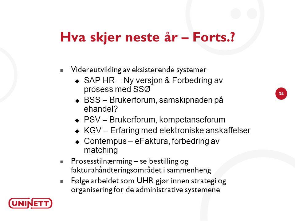34 Hva skjer neste år – Forts.? Videreutvikling av eksisterende systemer  SAP HR – Ny versjon & Forbedring av prosess med SSØ  BSS – Brukerforum, sa