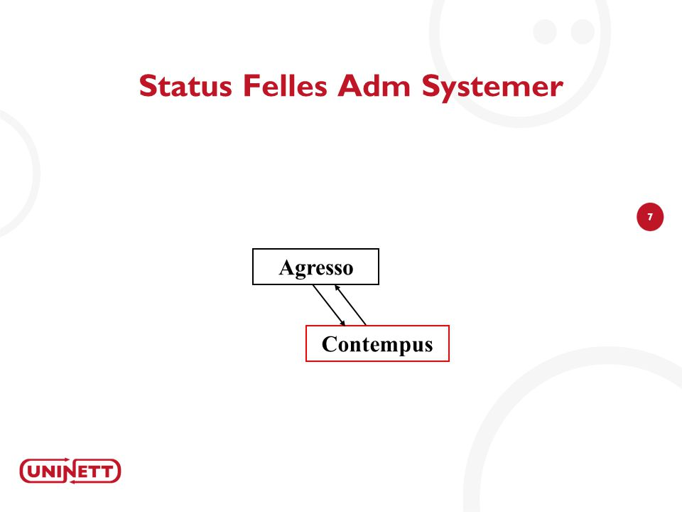 7 Status Felles Adm Systemer Agresso Contempus