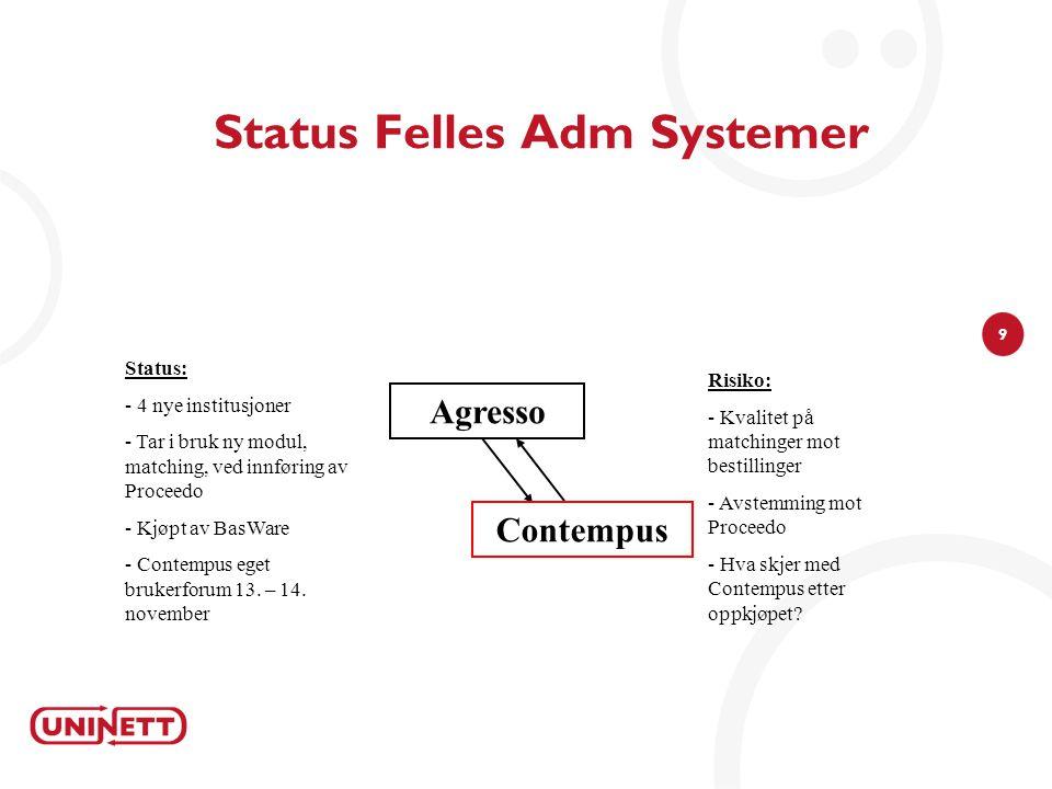 9 Status Felles Adm Systemer Agresso Risiko: - Kvalitet på matchinger mot bestillinger - Avstemming mot Proceedo - Hva skjer med Contempus etter oppkj