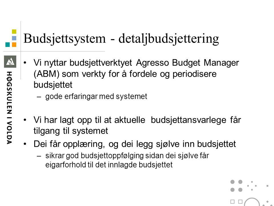 Budsjettsystem - detaljbudsjettering Vi nyttar budsjettverktyet Agresso Budget Manager (ABM) som verkty for å fordele og periodisere budsjettet –gode