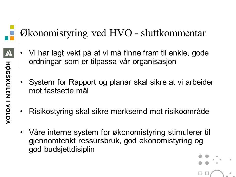Økonomistyring ved HVO - sluttkommentar Vi har lagt vekt på at vi må finne fram til enkle, gode ordningar som er tilpassa vår organisasjon System for