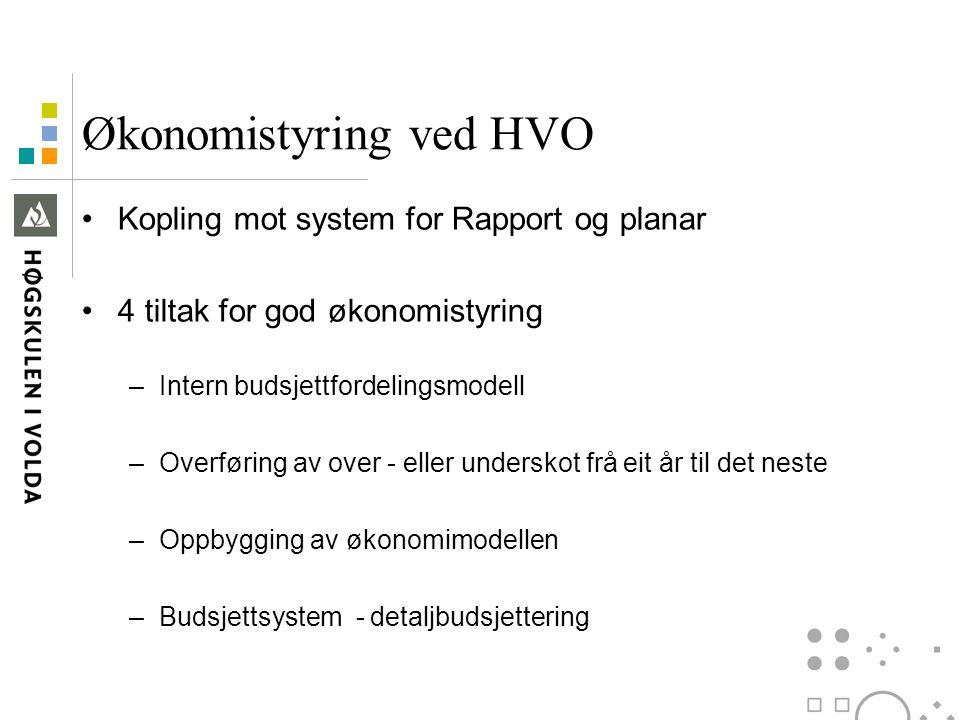 Økonomistyring ved HVO Kopling mot system for Rapport og planar 4 tiltak for god økonomistyring –Intern budsjettfordelingsmodell –Overføring av over -
