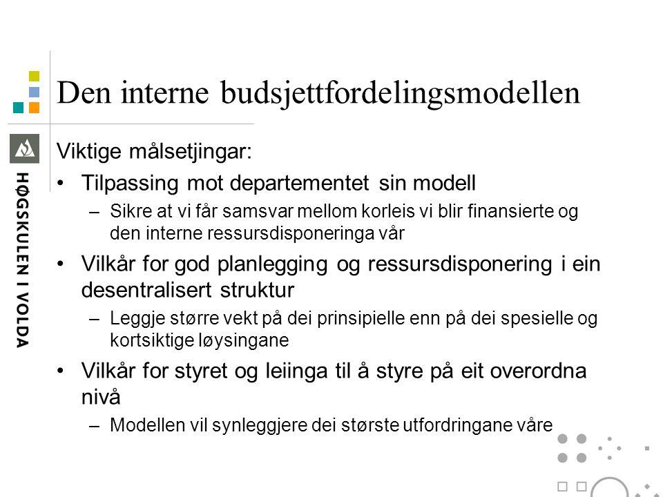 Den interne budsjettfordelingsmodellen Viktige målsetjingar: Tilpassing mot departementet sin modell –Sikre at vi får samsvar mellom korleis vi blir f