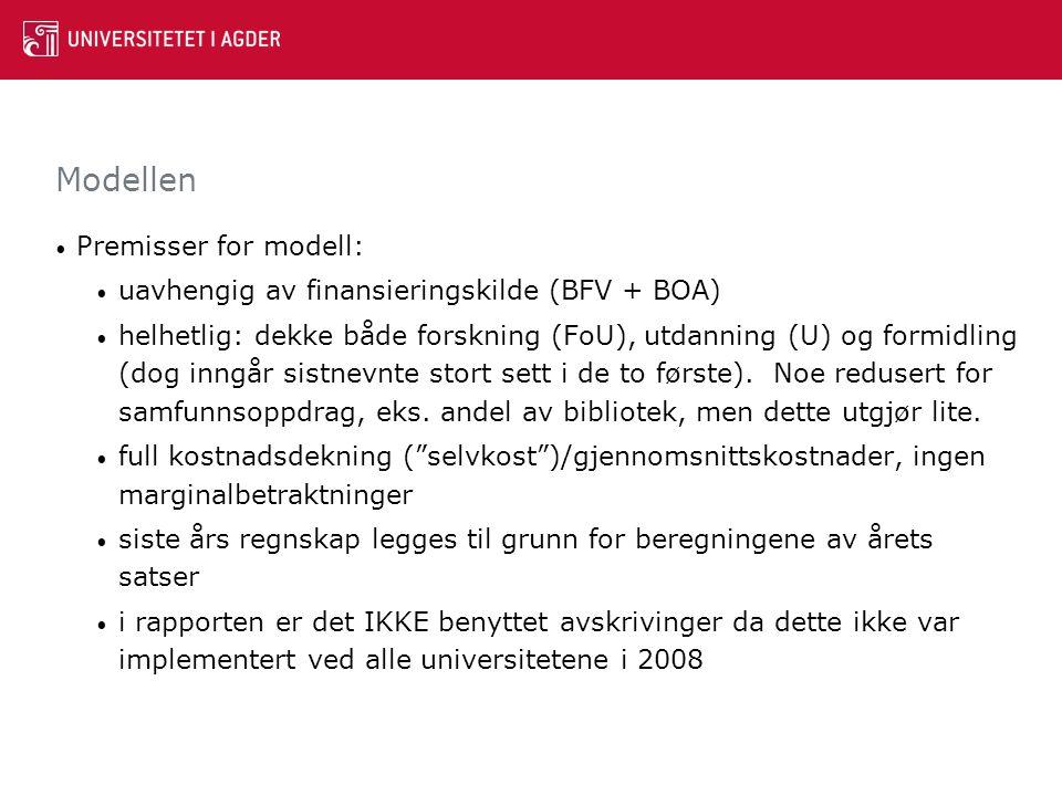 Modellen Grunnstruktur i modellen: Indirekte kostnader <= Totale kostnader – Direkte kostnader Direkte kostnader: lønn til vitenskapelige stillinger (UFF) + direkte driftskostnader.