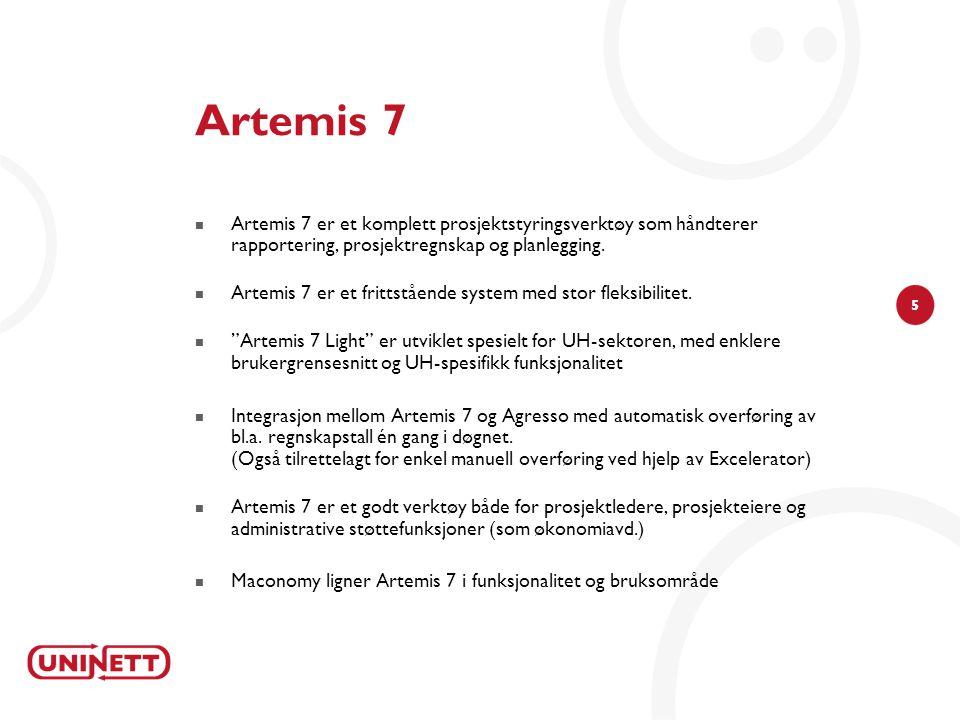 5 Artemis 7 Artemis 7 er et komplett prosjektstyringsverktøy som håndterer rapportering, prosjektregnskap og planlegging.