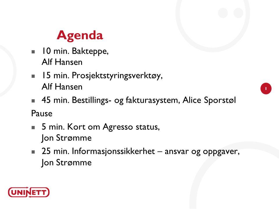1 Agenda 10 min.Bakteppe, Alf Hansen 15 min. Prosjektstyringsverktøy, Alf Hansen 45 min.