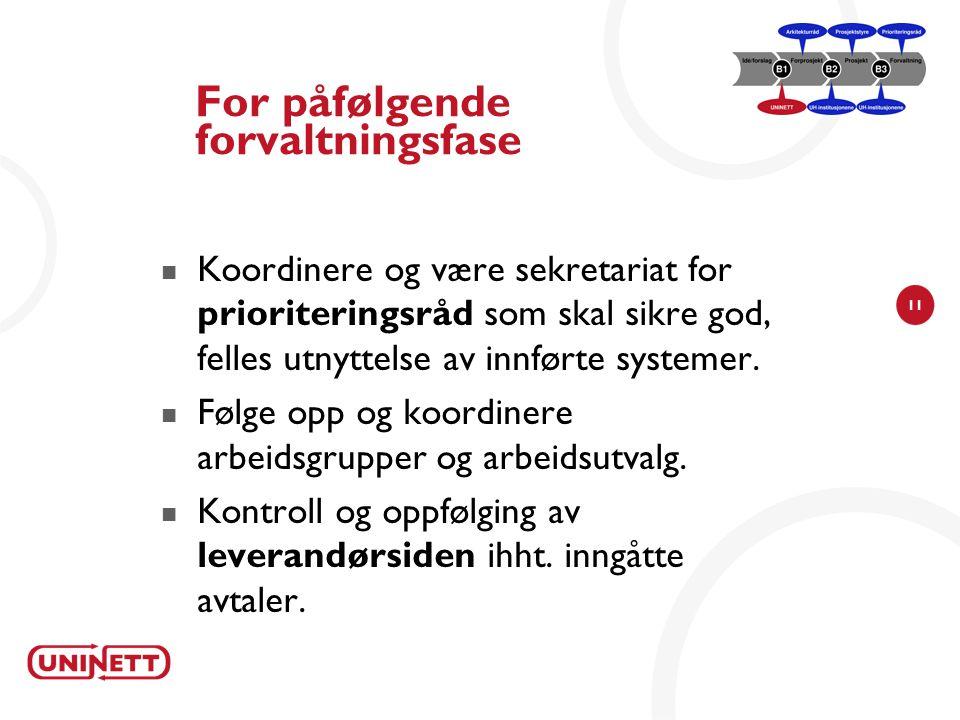 11 For påfølgende forvaltningsfase Koordinere og være sekretariat for prioriteringsråd som skal sikre god, felles utnyttelse av innførte systemer.