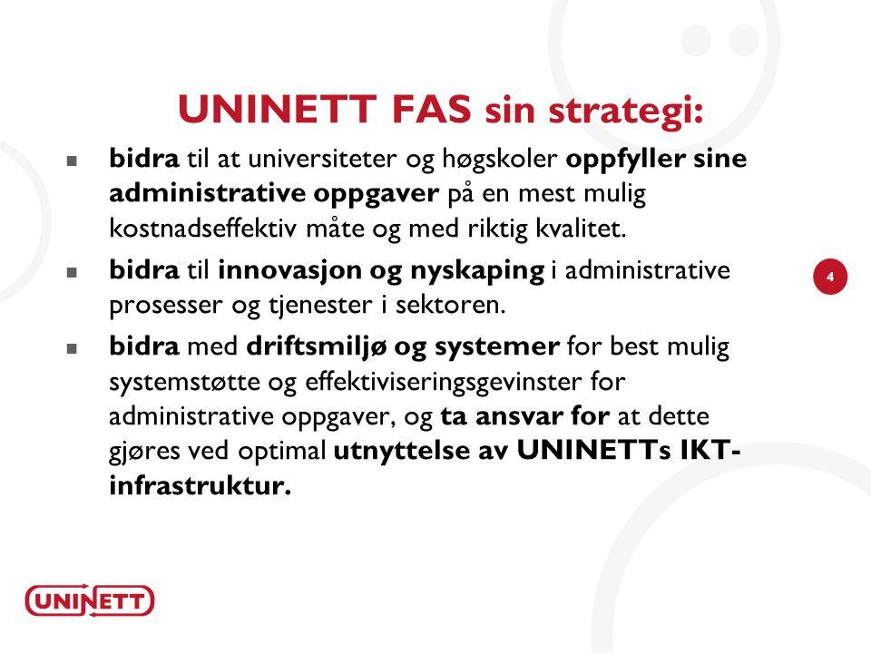 4 UNINETT FAS sin strategi: bidra til at universiteter og høgskoler oppfyller sine administrative oppgaver på en mest mulig kostnadseffektiv måte og med riktig kvalitet.