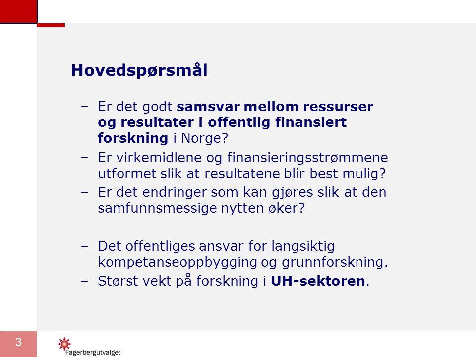 3 Hovedspørsmål –Er det godt samsvar mellom ressurser og resultater i offentlig finansiert forskning i Norge.